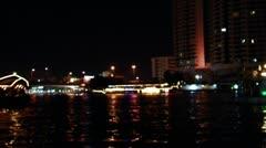 Night river Chao Praya Stock Footage