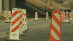 Road Construction Orange Cones and Heavy Equipment 1 - stock footage