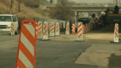 Road Construction Orange Cones and Heavy Equipment 4 Stock Footage