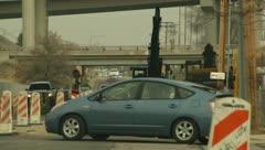 Road Construction Orange Cones and Heavy Equipment 5 Stock Footage