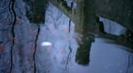 Forest and Bridge reflection in water,fish swimming and ripple. Stock Footage