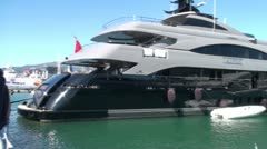 Luxury Yacht - International Boat Show Stock Footage