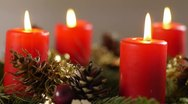 Stock Video Footage of Revolving advent wreath in detail with all candles lighted up