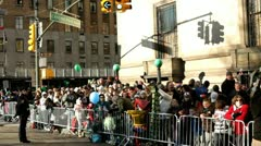 Crowd of people at Central Park west corner Stock Footage