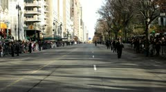Macy parade street with police Stock Footage