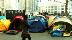 Occupy London Camp- St Pauls Cathedral 2011 - stock footage