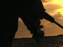 Fishing Reel Morning Silhouette Stock Footage