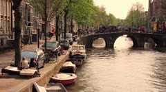 Stock Video Footage of Amsterdam Canal on a Summer Evening
