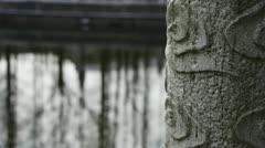 Forest eflection in water,Bridge columns at courtyard garden. Stock Footage