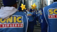 Sonic balloon handlers in Macy's parade Stock Footage