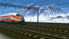 High speed train passing railway station in mountains Stock Footage