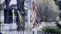 Patriotic GIRLS RAISE THE USA FLAG USA 1940s Vintage Retro Film Home Movie 1733 - stock footage