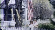 Stock Video Footage of GIRLS RAISE THE FLAG 4th of July USA 1940s (Vintage Retro Film Home Movie) 1733