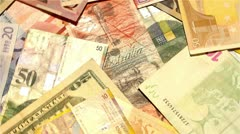 Banknotes from around the World 01 rotating Stock Footage