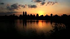 Central park sundown Stock Footage