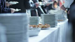 Catering food - buffet with businessmen Stock Footage