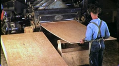 Man USA Worker in Plywood Lumber Factory 1930s Vintage Film Movie Industry 1760 Stock Footage