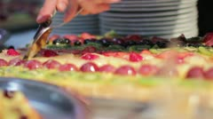 Catering - Fruit cake Stock Footage
