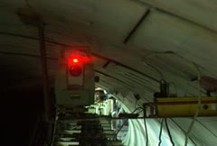 LASER Light, guide for the subway drill tunnel Stock Footage