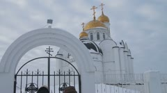 Russian Orthodox Church. Golden domes.  Winter in Russia Stock Footage