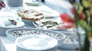 Stock Video Footage of Catering food - buffet with businessmen