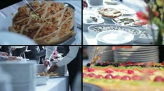 Catering food - buffet with businessmen - stock footage