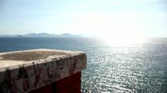 Sun light over sea horizon Stock Footage