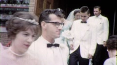 Wedding Party Exits Church Circa 1959 (Vintage Film Home Movie) 1771 Stock Footage