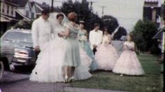 Suburban Wedding USA Bride Groom Bridesmaids 1960s Vintage Film Home Movie 1775 Stock Footage