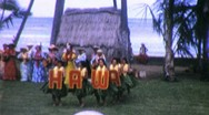 Stock Video Footage of Hawaiian Hula Show Dancers Dance 1965 (Vintage Film 8mm Home Movie) 1781