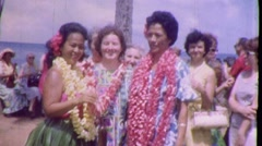 ALOHA! Hawaiian Tourists Pose Hula Girls Women 1960 Vintage Film Home Movie 1779 Stock Footage
