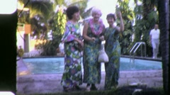 Hilarious Hula Tourist Women Dance Funny 1970s Vintage Film Home Movie 1784 Stock Footage