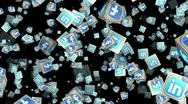Social Network Cubes Loop Alpha Channel Stock Footage