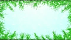The fur-tree branches, falling snow - the Christmas background Stock Footage