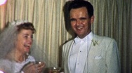 Stock Video Footage of Bride and Groom at Reception Circa 1965 (Vintage Film Home Movie) 1795