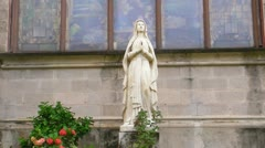 25p Virgin Mary Statue in Old Church Stock Footage