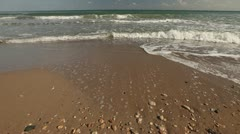Waves Wash Shore Sands Stock Footage