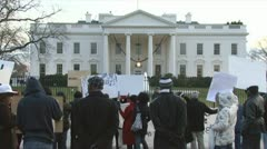 "Congolese protest at White House ""...Kabila must go""  Stock Footage"