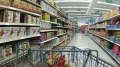 Grocery shopping cereal department P HD 0012 - stock footage