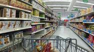 Grocery shopping cereal department P HD 0012 Stock Footage
