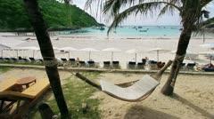 Empty hammock in an exotic beach Stock Footage