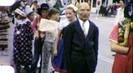 Children in Halloween Parade Circa 1957 (Vintage Home Movie Footage) 1801 Stock Footage