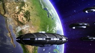 UFO invasion above earth Stock Footage