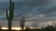 Fast Clouds Arizona Desert Sunset Stock Footage
