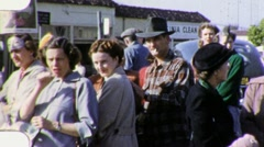 People Wait in Line Milling Crowd USA 1950s Vintage Film Home Movie 1808 Stock Footage
