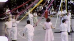 Satanic School Children Dance Around Maypole 1960s Vintage Film Home Movie 1810 Stock Footage