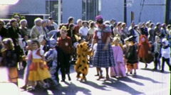 Children KIDS FUN Halloween Costume Parade 1950s Vintage Film Home Movie 1809 - stock footage