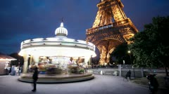 Timelapse carousel and Eiffel Tower in Paris Stock Footage