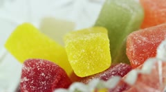 Jelly candies rotate closeup Stock Footage