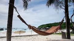 empty hammock in an exotic beach - stock footage